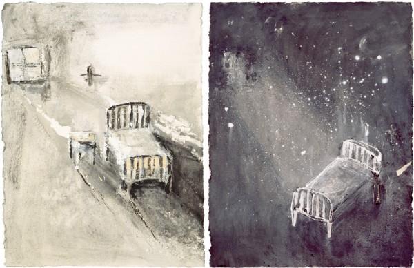 """""""Mediodía"""" y """"La habitación del universo"""", 2001. 67 x 50 cm."""