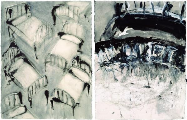 """""""Camitas"""" y """"Cama con raices II"""", 2001. 67 x 50 cm."""