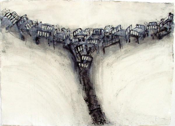 """""""Cayendo hacia el vacio"""", 2001. 70 x 100 cm."""