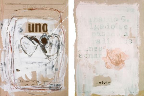 """""""Uno. Dos corazones que se miran"""" y """"A vivir"""", 1997. 41 x 29 cm."""