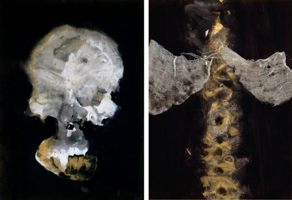 """Anatomía nº 1 Cráneo"" y ""Anatomía nº 16 Pulmones"", 32,5 x 46 cm."