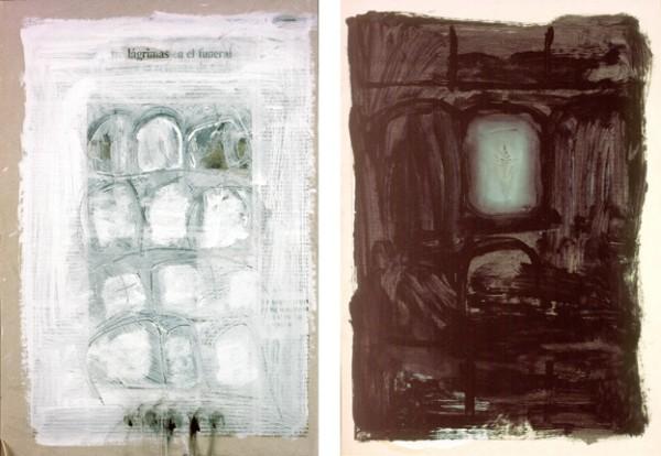 """""""Lágrimas en el funeral"""" y """"Almita"""", 1997. 41 x 29 cm."""